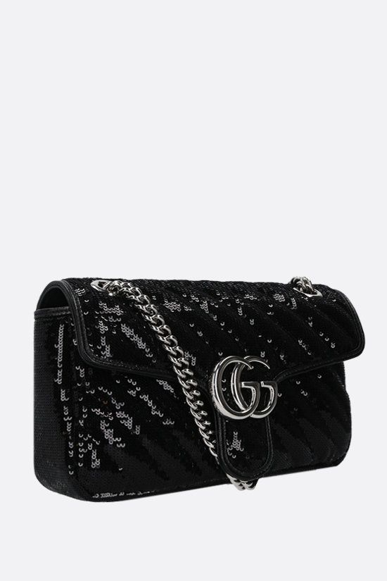 GUCCI: GG Marmont small sequin shoulder bag Color Black_2
