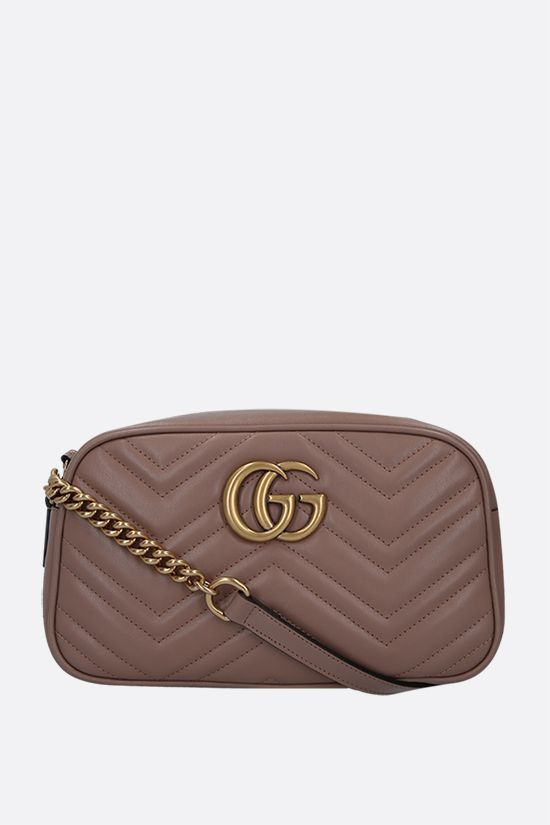 GUCCI: GG Marmont small crossbody bag in quilted leather Color White_1