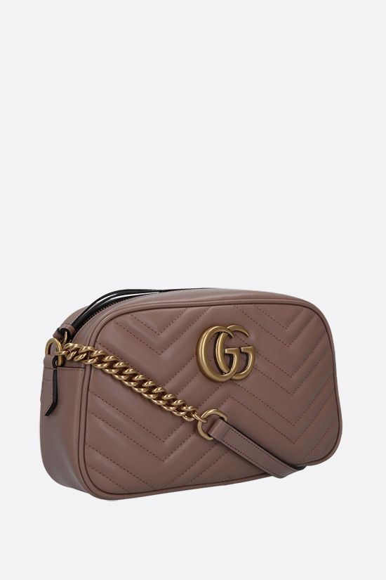 GUCCI: GG Marmont small crossbody bag in quilted leather Color White_2