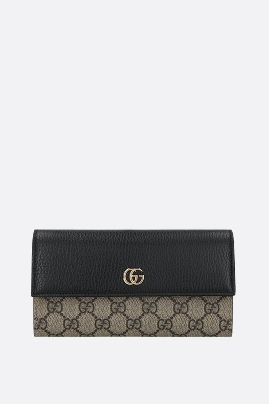 GUCCI: Petite Marmont chain wallet in GG Supreme fabric Color Black_1
