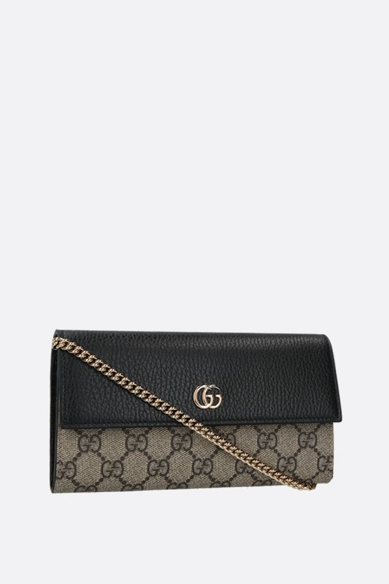 GUCCI: Petite Marmont chain wallet in GG Supreme fabric Color Black_2