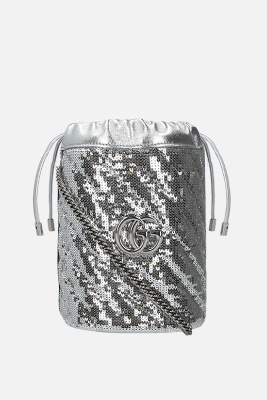 GUCCI: GG Marmont mini sequin bucket bag Color Grey_1