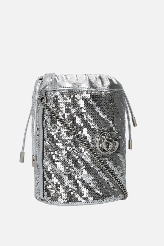 GUCCI: GG Marmont mini sequin bucket bag Color Grey_2