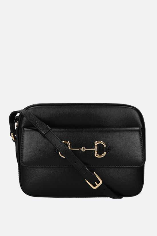 GUCCI: Gucci 1955 Horsebit shoulder bag in textured leather Color Black_1