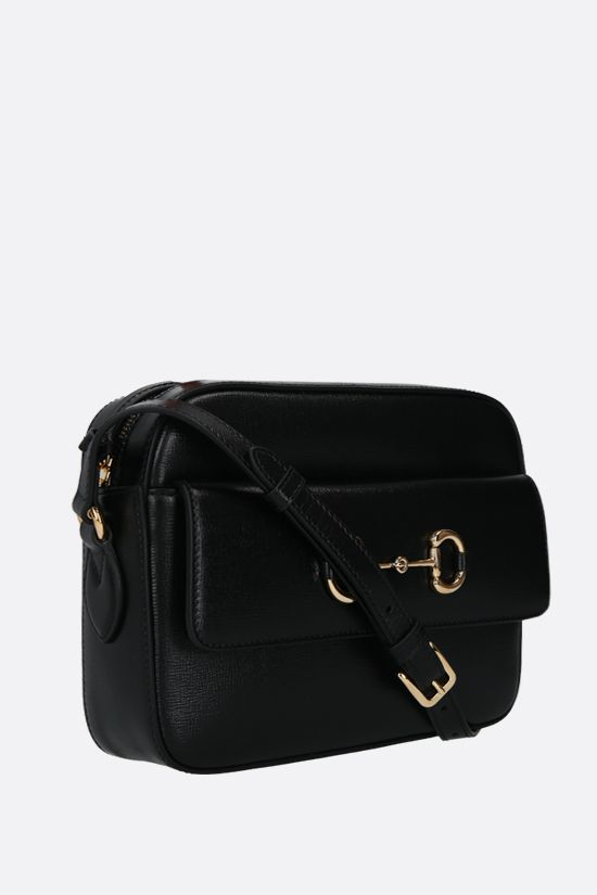GUCCI: Gucci 1955 Horsebit shoulder bag in textured leather Color Black_2