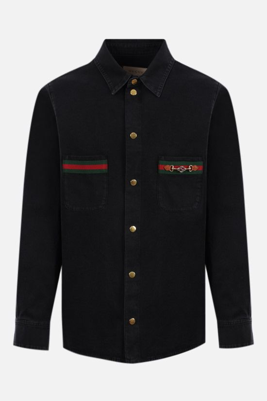 GUCCI: Web-detailed organic denim shirt Color Multicolor_1