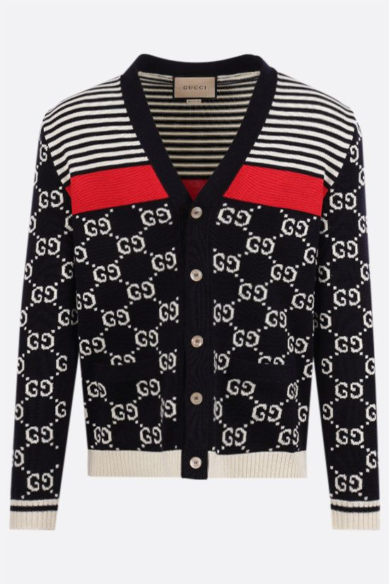 GUCCI: GG and stripes cotton cardigan Color Multicolor_1