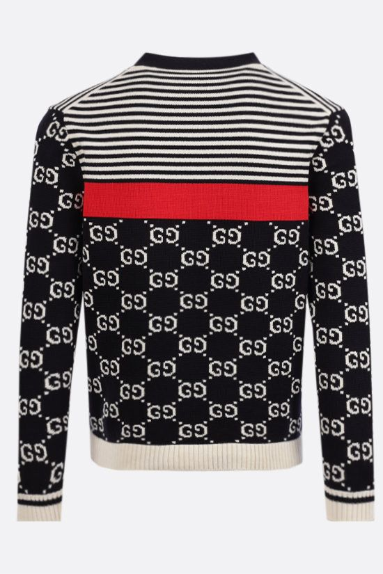 GUCCI: GG and stripes cotton cardigan Color Multicolor_2