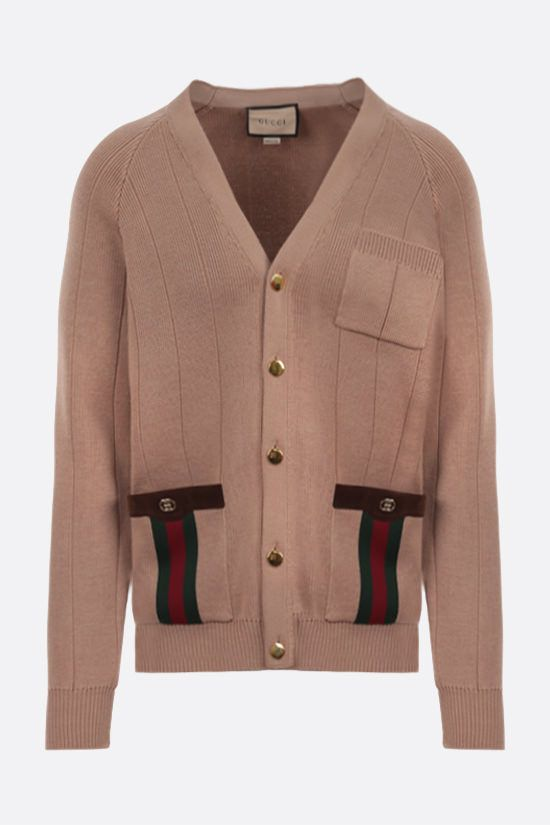GUCCI: Web-detailed wool blend cardigan Color Brown_1