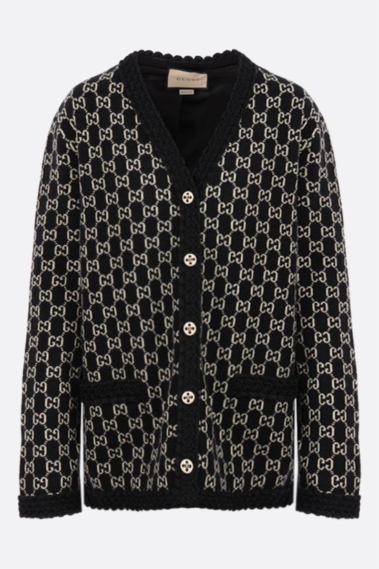 GUCCI: oversize GG wool jacquard cardigan Color Multicolor_1