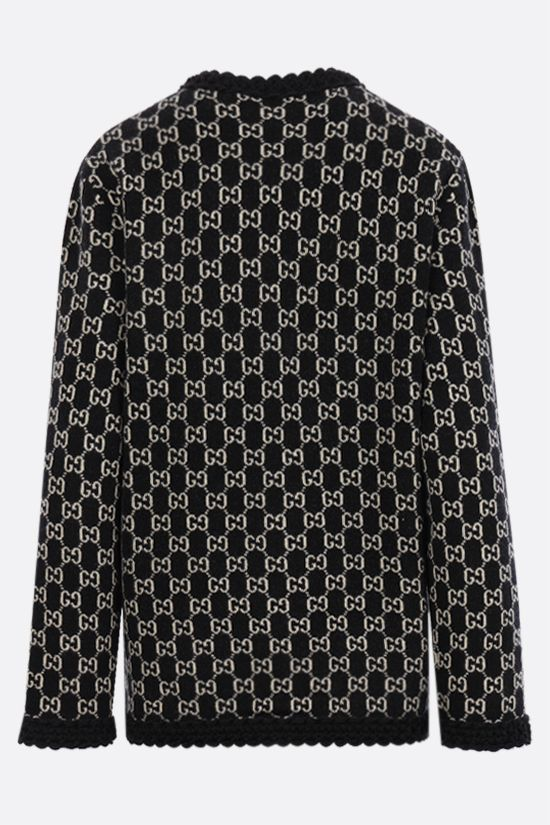 GUCCI: oversize GG wool jacquard cardigan Color Multicolor_2