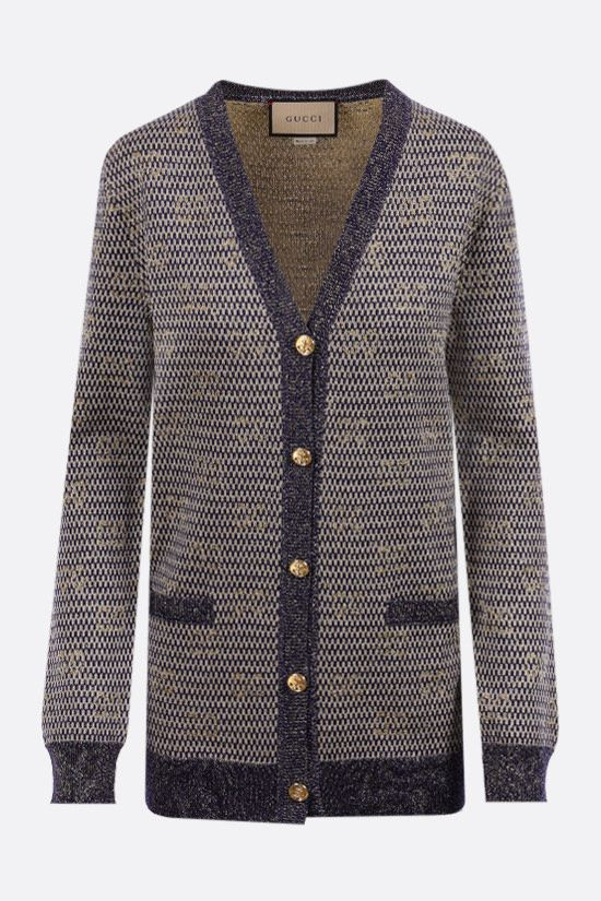 GUCCI: Interlocking G lurex and technical wool cardigan Color Multicolor_1