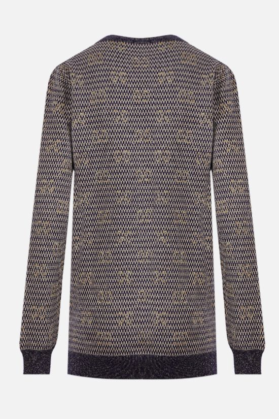 GUCCI: Interlocking G lurex and technical wool cardigan Color Multicolor_2