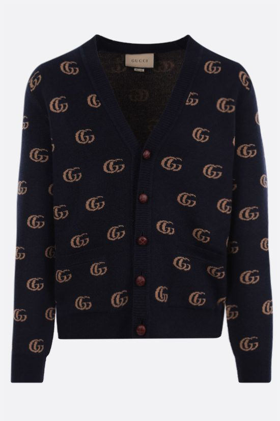 GUCCI: Double G motif wool cardigan Color Blue_1