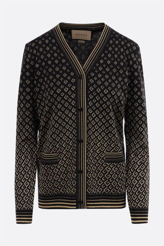GUCCI: G extrafine wool and lamè cardigan Color Black_1