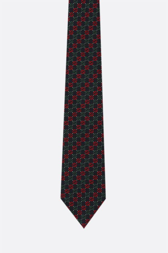 GUCCI: Interlocking G-motif silk tie Color Blue_1