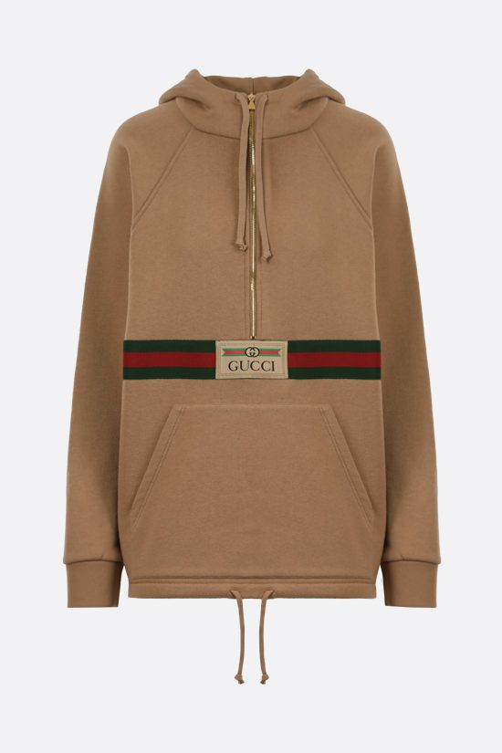 GUCCI: Web-detailed cotton hoodie Color Neutral_1