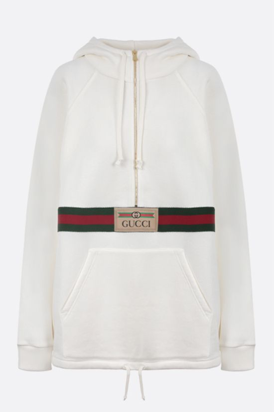 GUCCI: Web-detailed cotton hoodie Color Yellow_1
