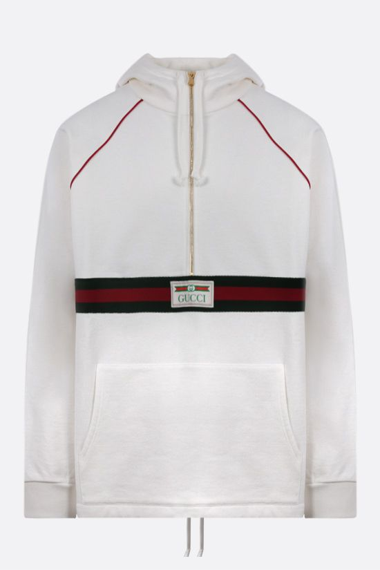 GUCCI: Web stripe-detailed cotton half-zip hoodie Color White_1