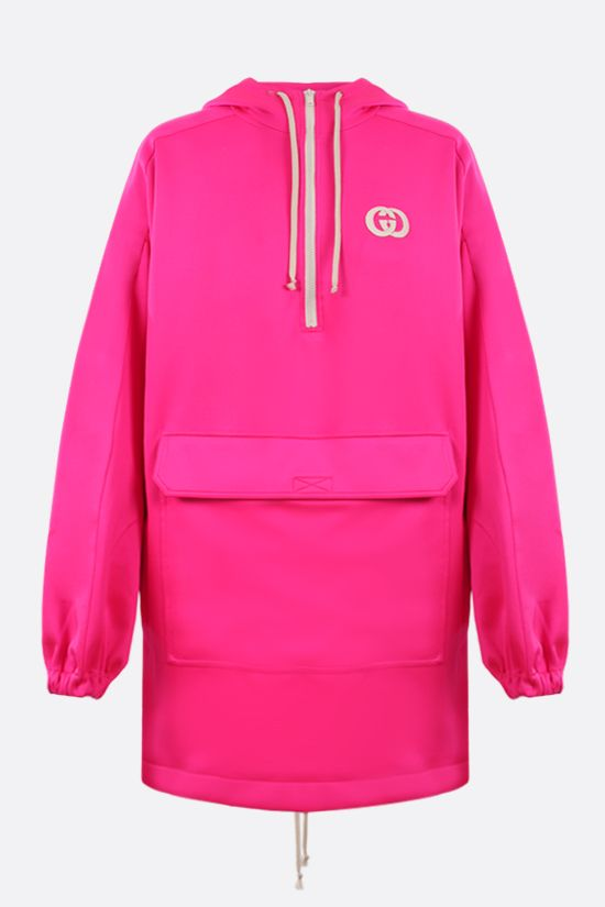 GUCCI: oversize technical jersey hoodie Color Pink_1