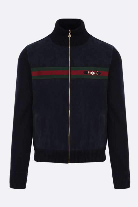 GUCCI: Web-detailed suede and cotton bomber jacket Color Multicolor_1