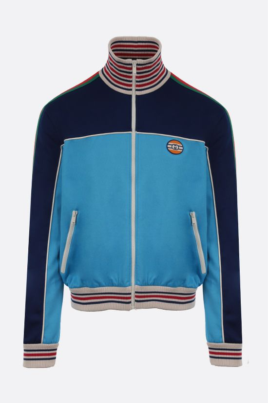 GUCCI: giubbotto full-zip in jersey tecnico patch GG Colore Multicolore_1