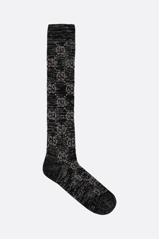 GUCCI: GG cotton lurex blend long socks Color Black_1