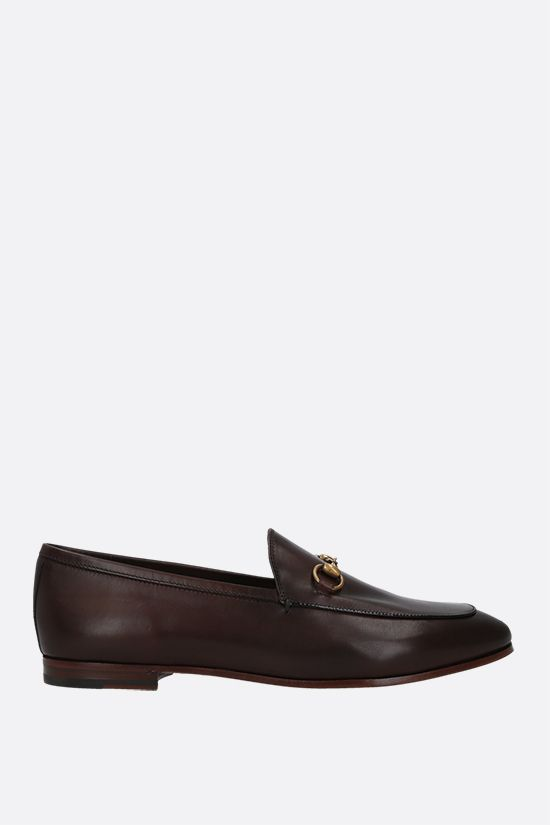 GUCCI: Jordaan smooth leather loafers Color Brown_1