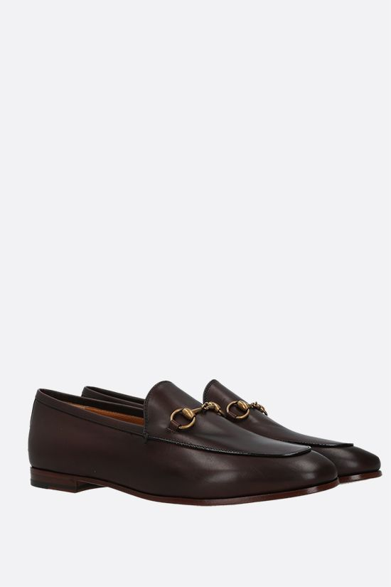 GUCCI: Jordaan smooth leather loafers Color Brown_2