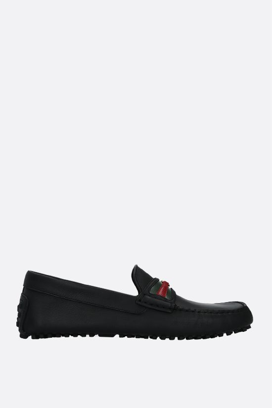 GUCCI: Web-detailed smooth leather driving loafers Color Multicolor_1