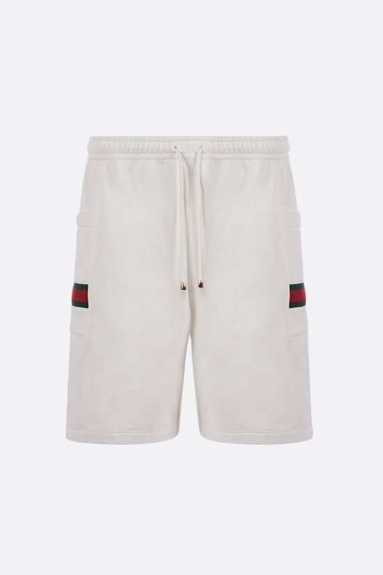 GUCCI: Web-detailed cotton shorts Color White_1