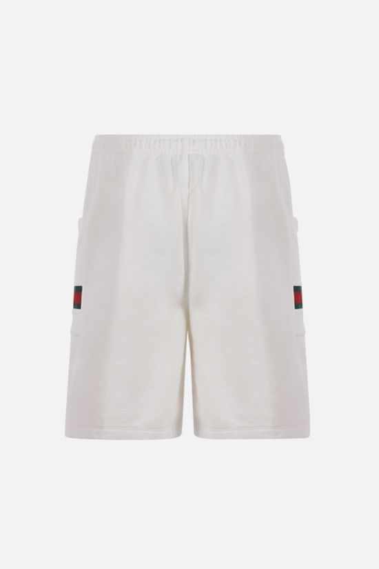 GUCCI: Web-detailed cotton shorts Color White_2