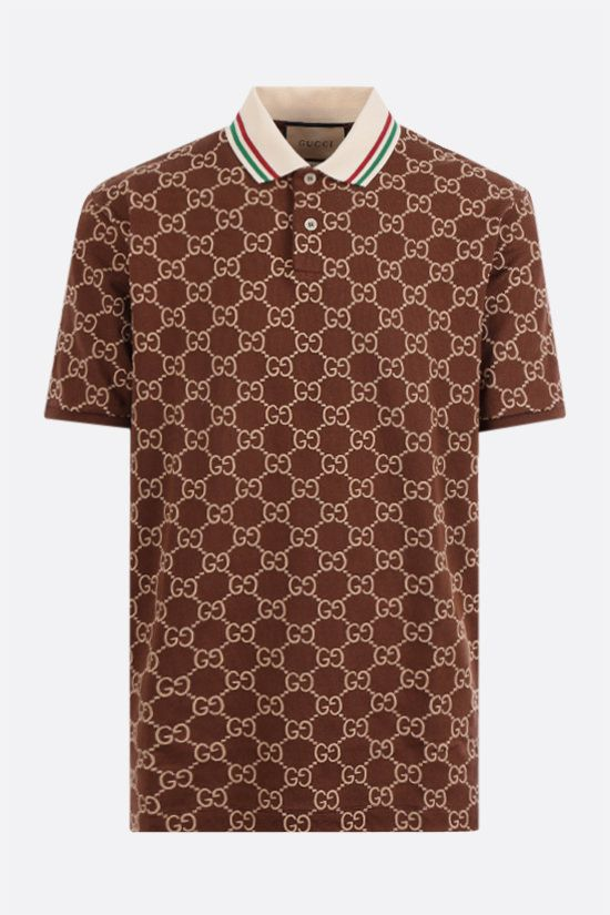 GUCCI: GG cotton piquet polo shirt Color Brown_1