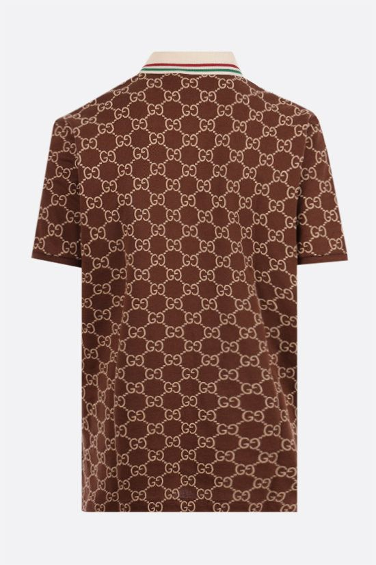 GUCCI: GG cotton piquet polo shirt Color Brown_2