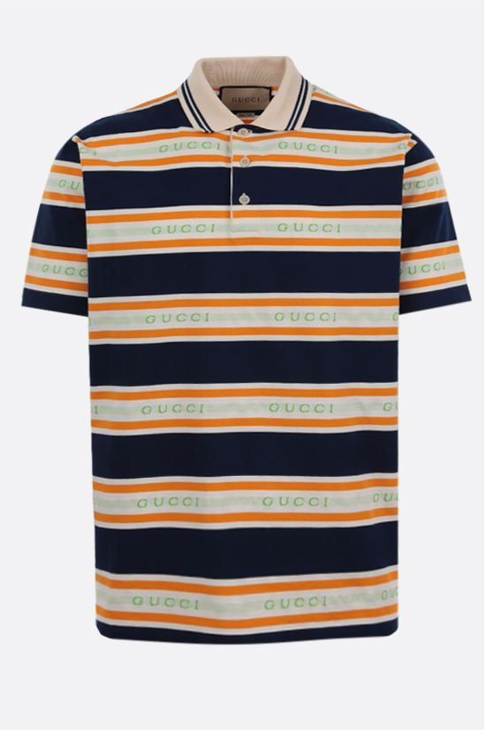GUCCI: logo-detailed cotton polo shirt Color Multicolor_1