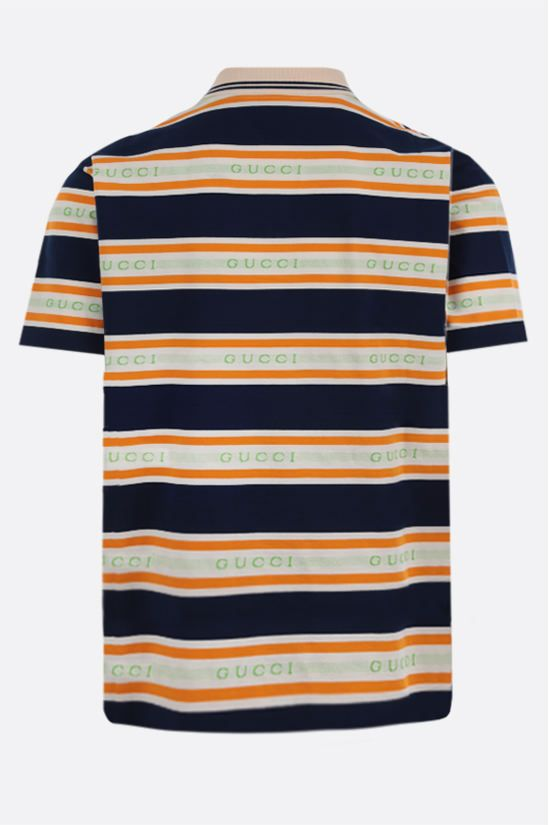 GUCCI: logo-detailed cotton polo shirt Color Multicolor_2