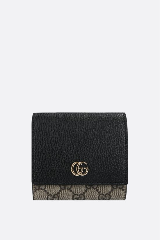 GUCCI: GG Supreme fabric Marmont small flap wallet Color Black_1