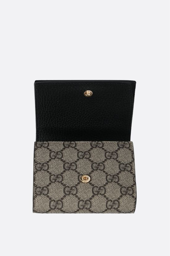 GUCCI: GG Supreme fabric Marmont small flap wallet Color Black_2