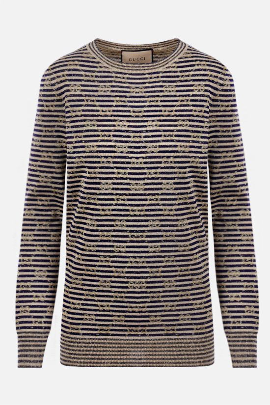 GUCCI: Interlocking G lurex and technical wool pullover Color Multicolor_1