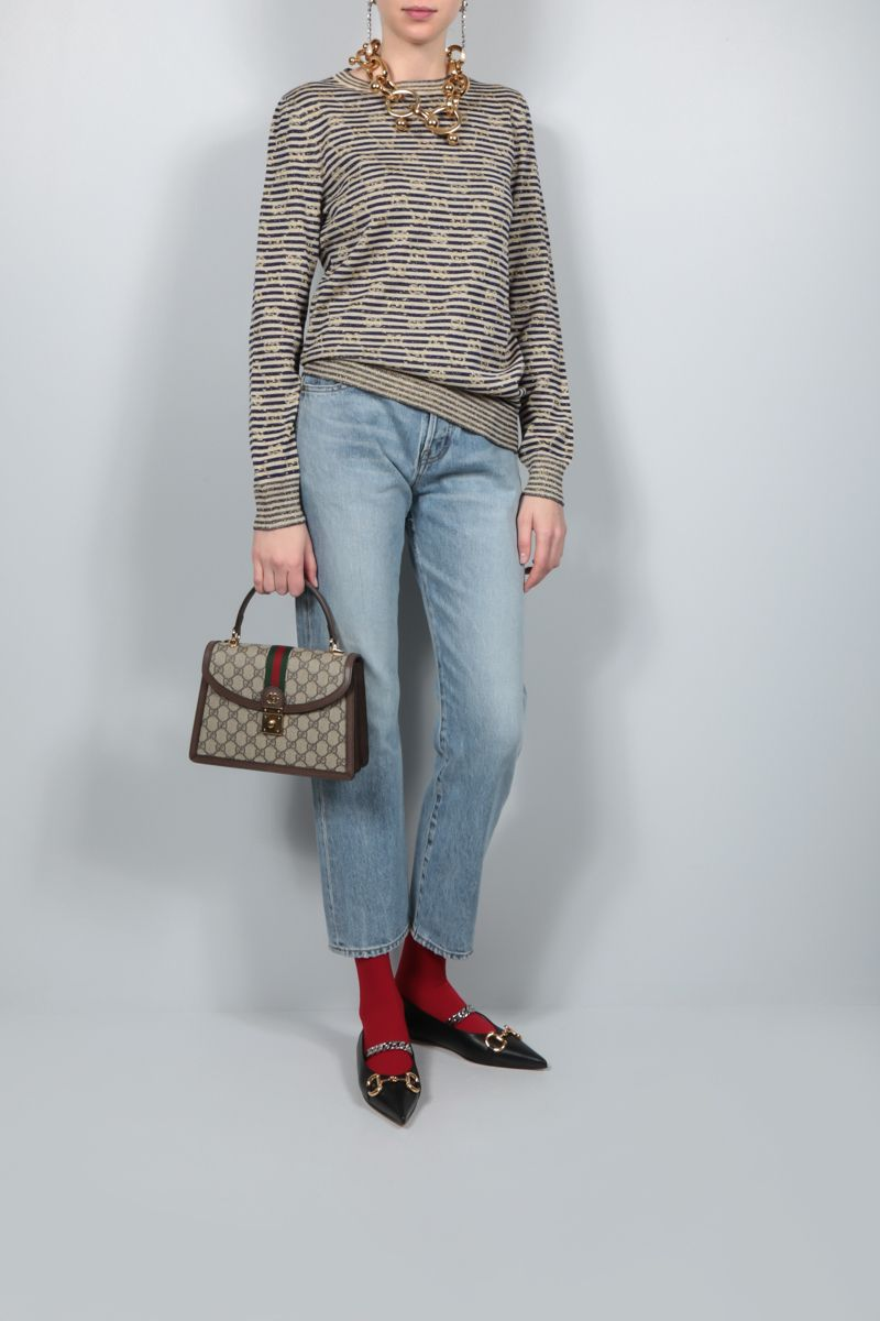 GUCCI: Interlocking G lurex and technical wool pullover Color Multicolor_2