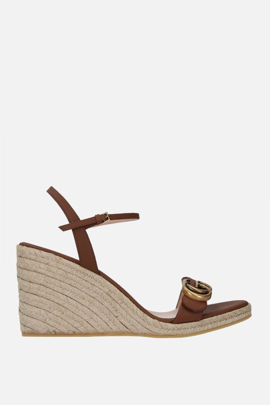 GUCCI: smooth leather wedge sandals Color Brown_1