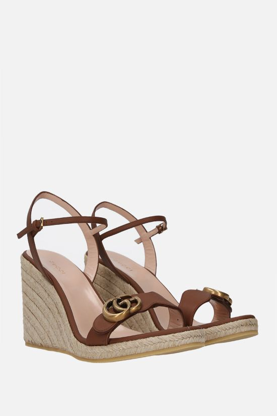 GUCCI: smooth leather wedge sandals Color Brown_2
