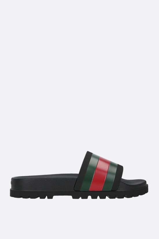 GUCCI: Web-detailed rubber slide sandals Color Black_1