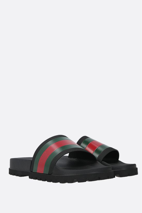 GUCCI: Web-detailed rubber slide sandals Color Black_2