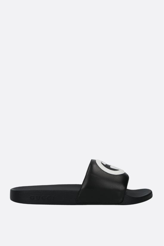 GUCCI: Interlocking G patch smooth leather slide sandals Color Black_1