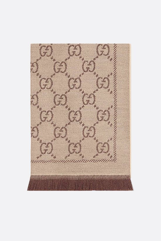 GUCCI: GG wool jacquard scarf Color Brown_1