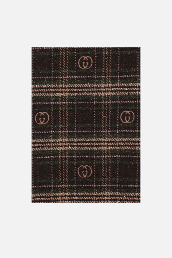 GUCCI: check wool blend scarf Color Brown_1