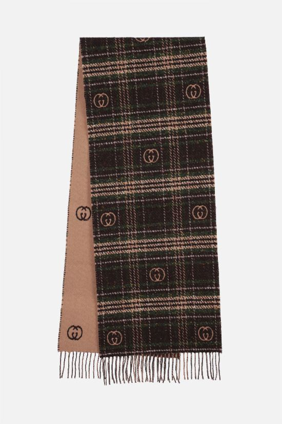 GUCCI: check wool blend scarf Color Brown_2