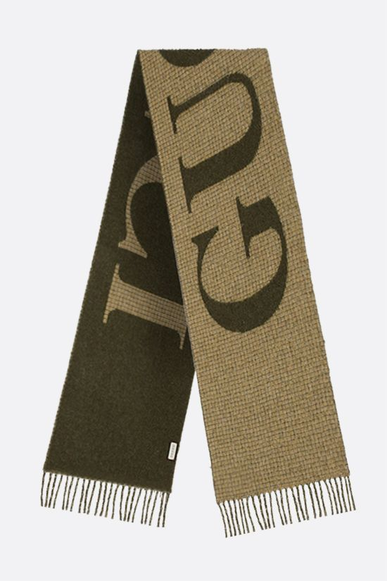 GUCCI: logo-detailed wool blend scarf Color Green_2