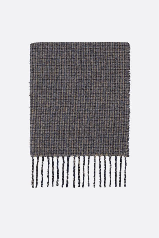 GUCCI: logo-detailed wool blend scarf Color Blue_1